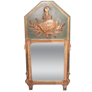 18th Century Antique French Louis XVI Painted and Gilt Wood Trumeau Mirror For Sale