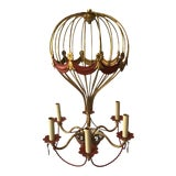 Image of 1970s Italian Gilt Iron Hot Air Balloon Chandelier For Sale