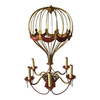 1970s Italian Gilt Iron Hot Air Balloon Chandelier For Sale