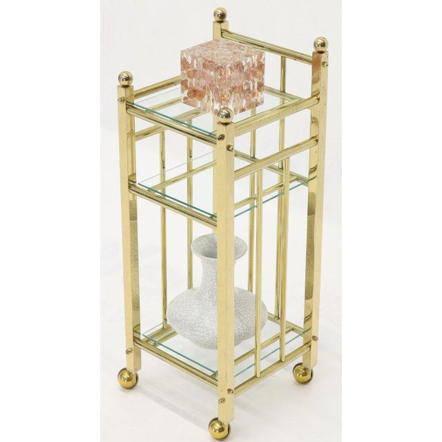 White Mid-Century Modern Brass and Glass Square Stand Table Cart Pedestal on Wheels For Sale - Image 8 of 13