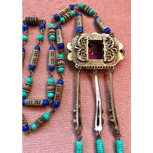 1920s 1920s Czech Egyptian Revival Pendant Necklace For Sale - Image 5 of 6