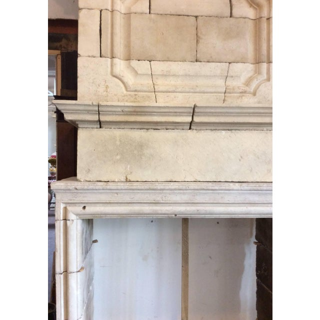 Louis XIV Limestone Mantel with Double Trumeau For Sale - Image 4 of 5