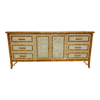 Faux Bamboo Credenza and Wine Cabinet For Sale