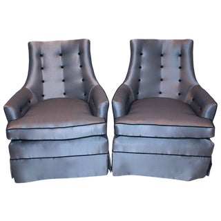 Mid-Century Steel Gray Club Chairs - A Pair