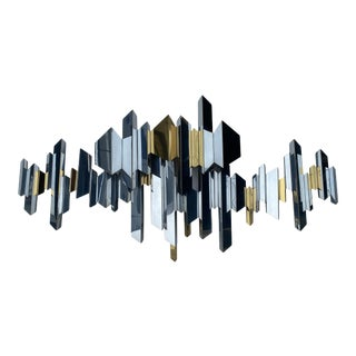 "Chome Mirrored Stainless Steel ""Cityscape"" Curtis Jere Paul Evans Inspired Wall Sculpture For Sale"
