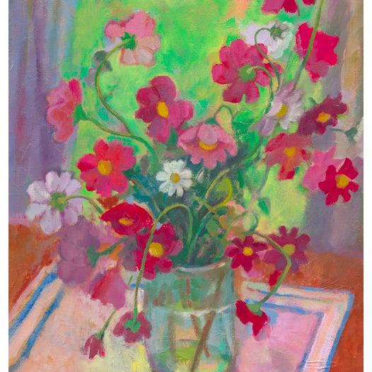 This print depicts pink, white, and vermillion cosmos flowers in a clear vase by the window. The piece was created by...