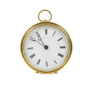 French Brass Drum Mantel Clock by Salom & Co. For Sale