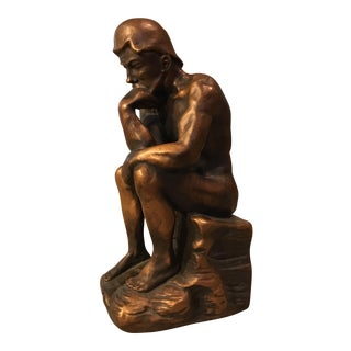 """Vintage Marwal """"The Thinker"""" Chalkware Statue"""