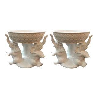 Italian White Ceramic Elephant Motif Pottery Bowl