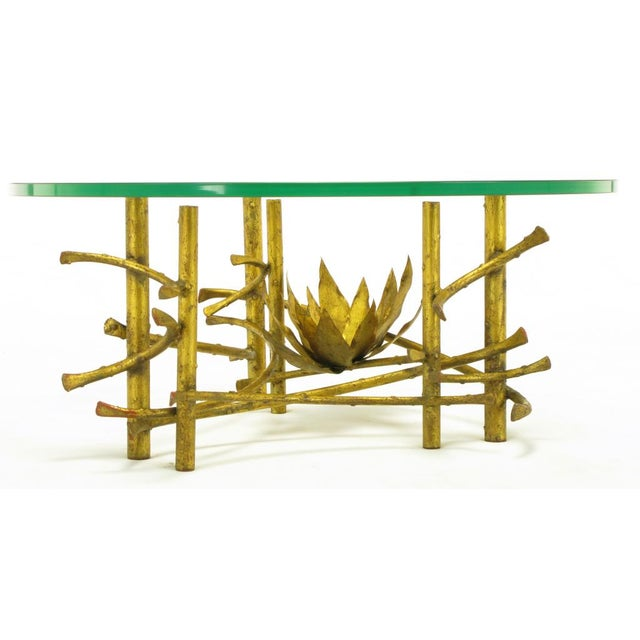 1960s Brutalist Gilt Iron Lotus Coffee Table For Sale - Image 5 of 8