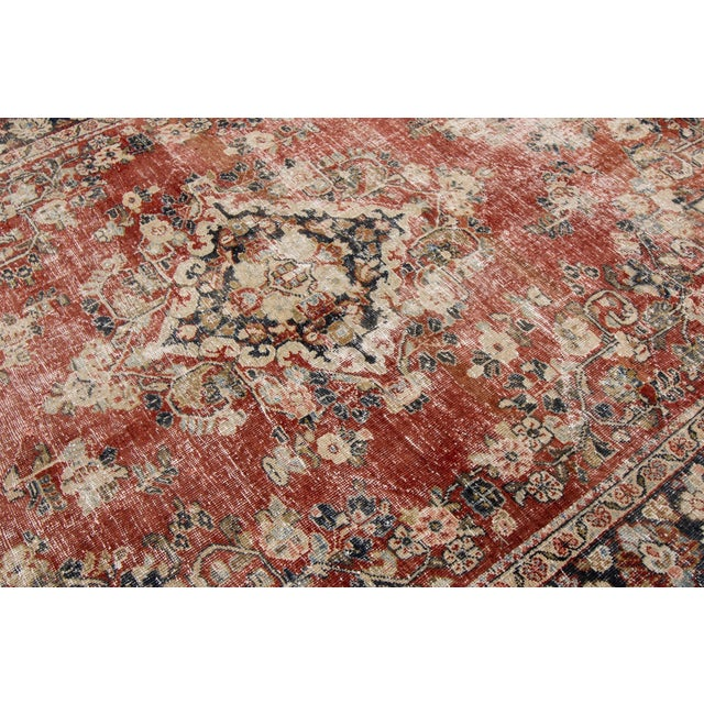 "Apadana-Antique Persian Distressed Rug, 6'6"" X 9'1"" For Sale - Image 9 of 10"