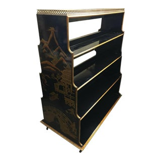 Chinese Black Lacquer Double Sided Bookshelf