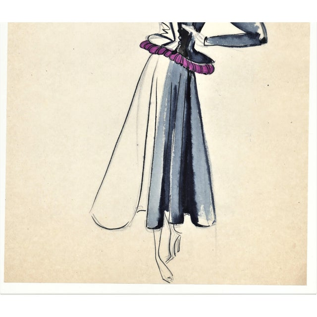 Original French Fashion Drawing For Sale - Image 4 of 4