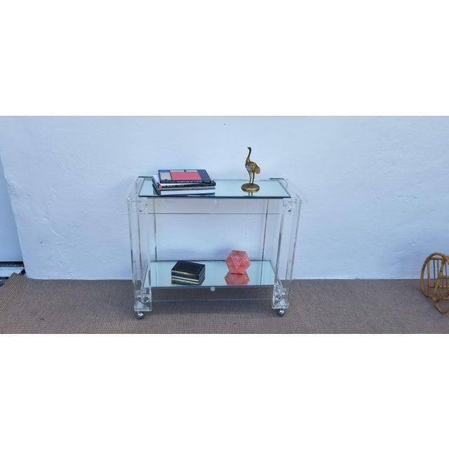 Chrome 1970s Lucite Mirrored Glass Bar Cart For Sale - Image 7 of 13