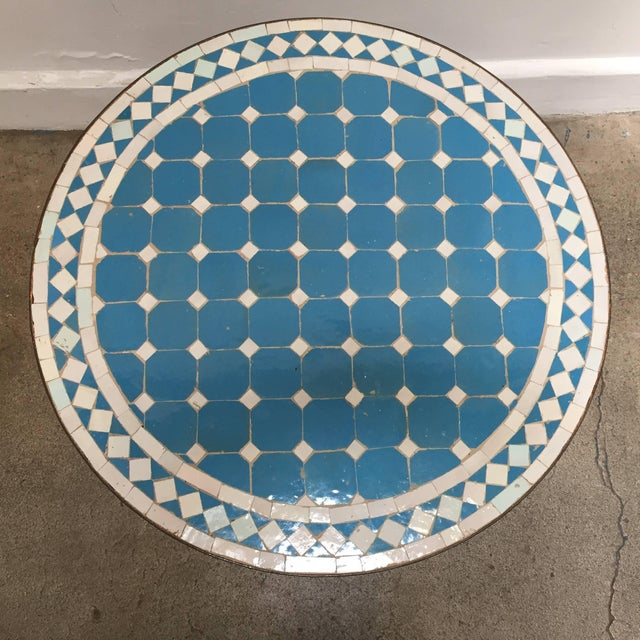 Ceramic Moroccan Mosaic Outdoor Blue Tile Side Table on Low Iron Base For Sale - Image 7 of 13