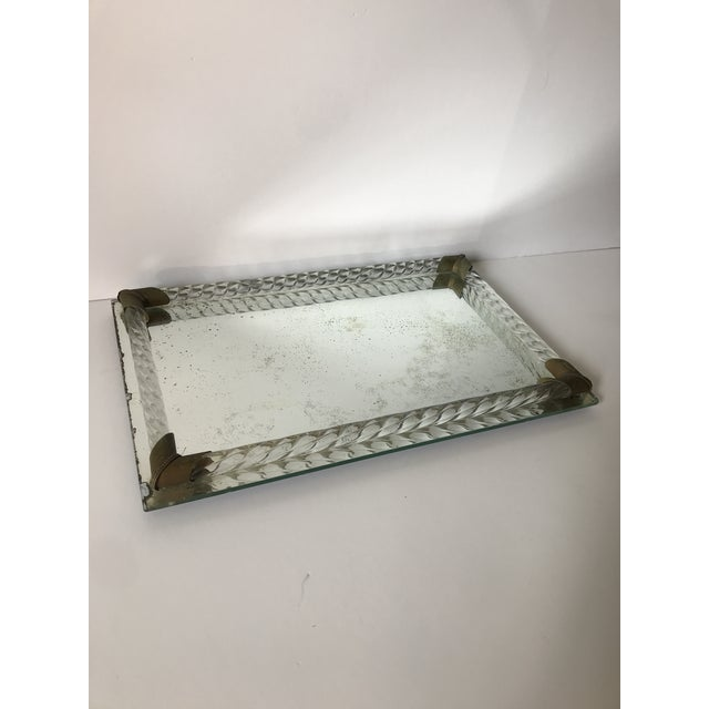Hollywood Regency Antique Brass and Italian Murano Glass Rope Tray For Sale - Image 3 of 7