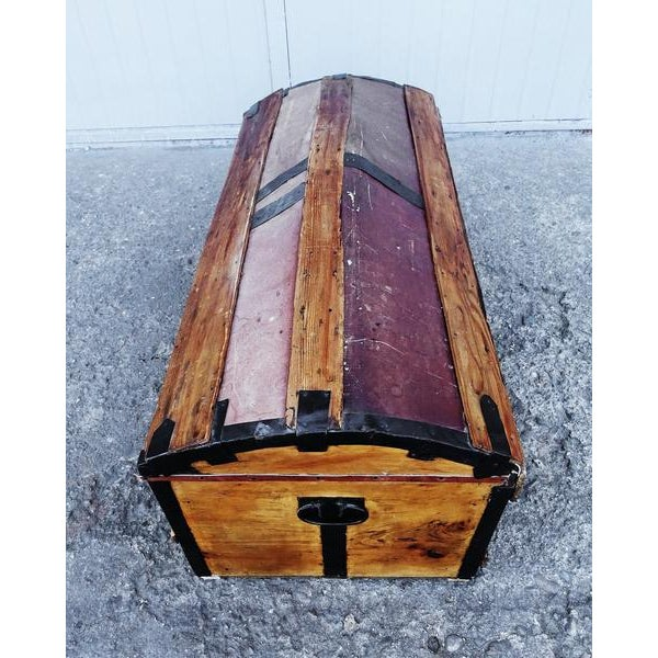 Brown Solid French Storage Trunk With Leather Inserts For Sale - Image 8 of 9