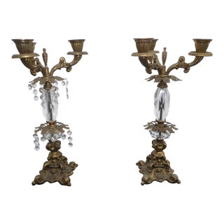 French Provincial Candalabras Candle Holders W/ Crystals - a Pair For Sale