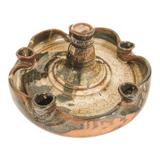 Vintage Midcentury Stoneware Pottery Studio Candleholder For Sale