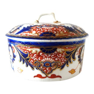 1784-1825 Antique Royal Crown Derby King's Pattern 383 English Imari Round Lidded Box For Sale