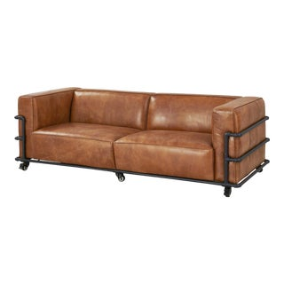 Crafters and Weavers Henry Industrial Modern Leather Sofa For Sale