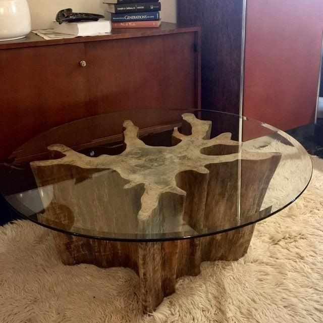 Vintage Cypress Wood Coffee Table - Image 2 of 9