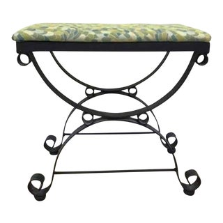 Maitland Smith Style Wrought Iron Bench Stool For Sale
