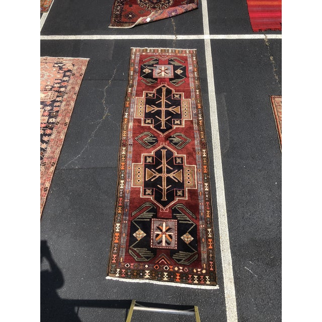 "1950s Art Deco Persian Meshkin Wool Runner - 3'8""x11'7"" For Sale - Image 13 of 13"