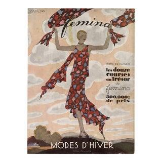 "Vintage ""Femina, October 1929"" Original French Magazine Cover For Sale"