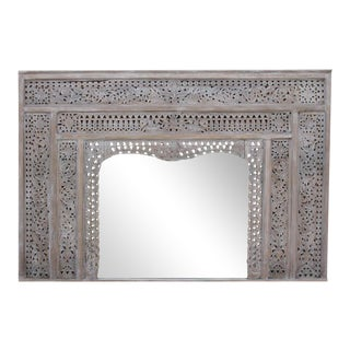 Carved Whitewash Balinese Mirror