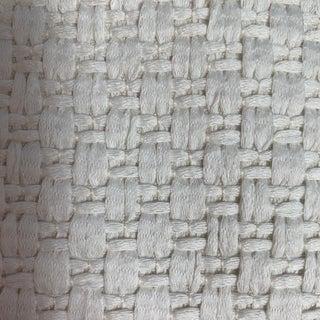 Designer Woven White Basketweave Cotton Fabric For Sale