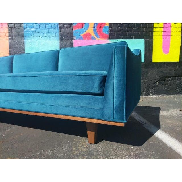 Mid Century Style Blue Velvet Sofa With Walnut Trim