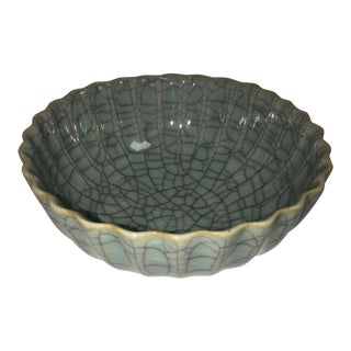 Late 19th Century Chinese Signed Celadon Bowl For Sale
