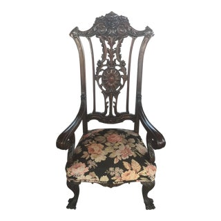Gothic Revival Carved Arm Chair For Sale