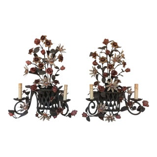 Vintage Tole Flower Basket Sconces - A Pair For Sale