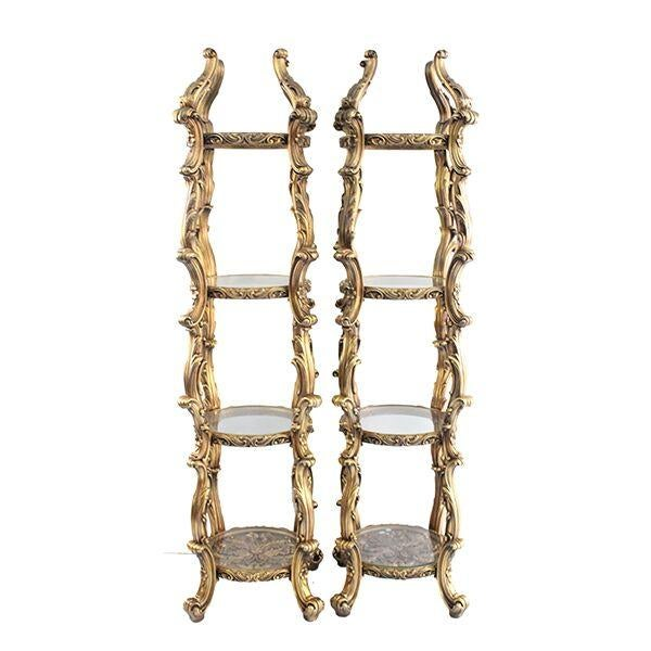 Gilded Etageres with Glass Shelves - A Pair - Image 1 of 3