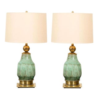 Sensational Pair of Turquoise Ceramic and Brass Lamps by Stiffel For Sale