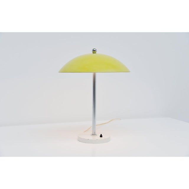 Metal Wim Rietveld Yellow Mushroom Table Lamp by Gispen, 1950 For Sale - Image 7 of 7