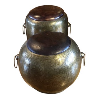 20th Century Vintage Moroccan Hammered Brass and Leather Poufs- A Pair For Sale