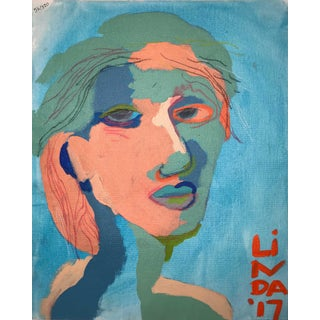 """Contemporary Abstract Portrait Painting """"Here We Go"""" For Sale"""
