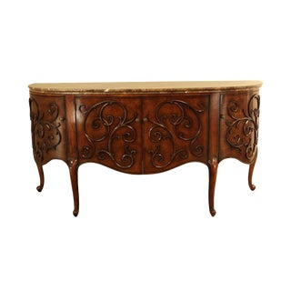 Henredon French Art Nouveau Style Demilune Marble Top Sideboard For Sale