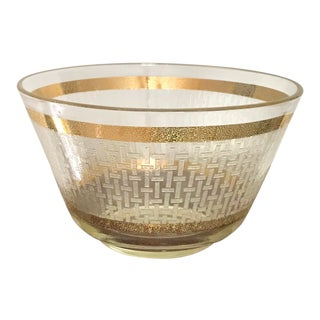 Vintage Gilt Criss Cross Pattern Large Glass Salad Bowl For Sale