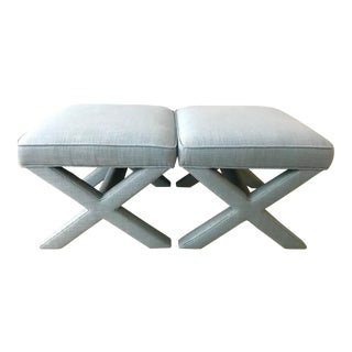 Jonathan Adler Blue Basketweave X-Benches - a Pair