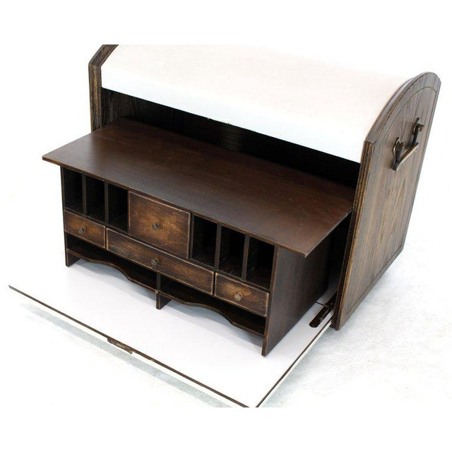 Mid-Century Modern Cerused Carved Scallop Oak Leather Wrapped Campaign Portable Secretary Desk For Sale - Image 3 of 13