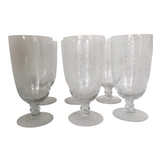 Fostoria Buttercup Crystal Ice Tea Glasses With Ionic Capital Stems - Set of 6 For Sale