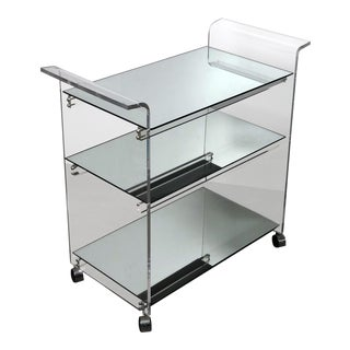 Lucite & Mirror Bar Cart, 1970's For Sale