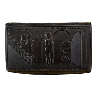 Antique Pressed Horn Frederick the Great Tomb Napoleon Snuff Box For Sale