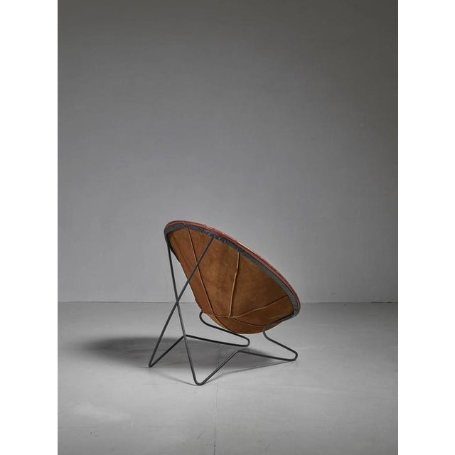 Superior Leather Hoop Chair with Iron Hairpin Frame, California ...