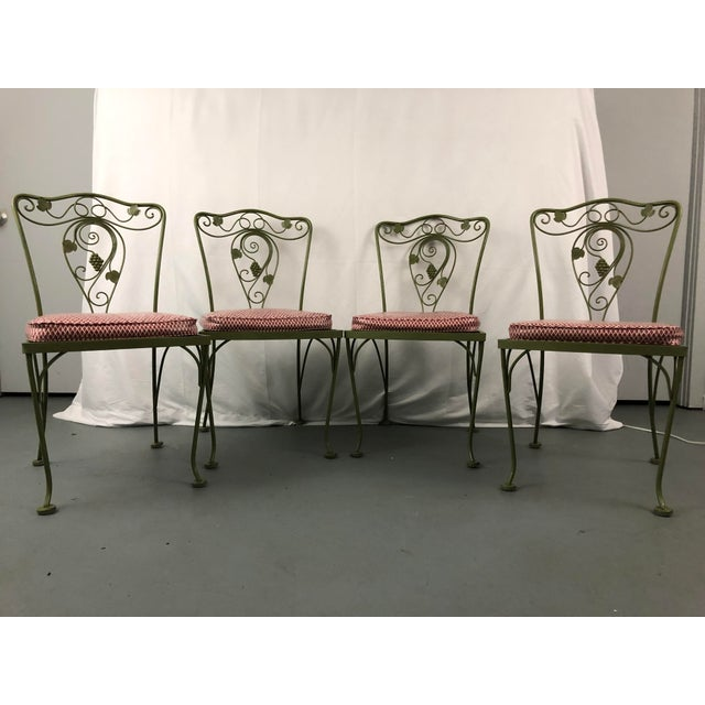 Metal Vintage Woodard Style Wrought Iron Patio Chairs - Set of 6 For Sale - Image 7 of 13