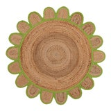 Image of 4'x4' Green Round Jute Scallop Rug For Sale